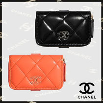 CHANEL Plain Leather Small Wallet Logo Coin Cases