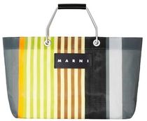 MARNI MARNI MARKET Stripes A4 Leather Logo Totes