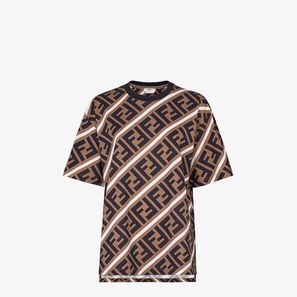 FENDI Crew Neck Monogram Street Style Cotton Short Sleeves