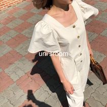 Casual Style Plain Cotton Medium Puff Sleeves Front Button