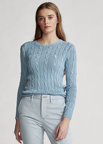 POLO RALPH LAUREN Crew Neck Cable Knit Casual Style Rib Long Sleeves Cotton