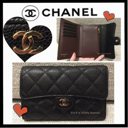 CHANEL MATELASSE Unisex Calfskin Plain Small Wallet Folding Wallets