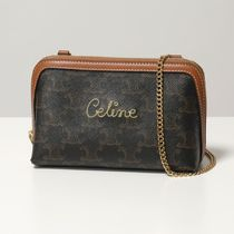 CELINE Triomphe Canvas 2WAY Chain Leather Party Style Elegant Style