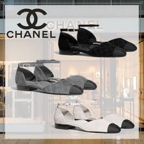CHANEL Platform Round Toe Casual Style Suede Blended Fabrics