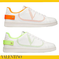 VALENTINO BACKNET Studded Plain Leather Logo Neon Color Sneakers