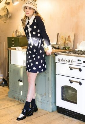 Flower Patterns Casual Style A-line Long Sleeves Long Lace