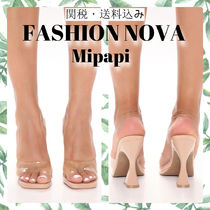 FASHION NOVA Square Toe Casual Style Mules Heeled Sandals