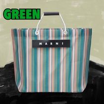 MARNI MARNI MARKET Stripes Blended Fabrics A4 Leather Logo Totes