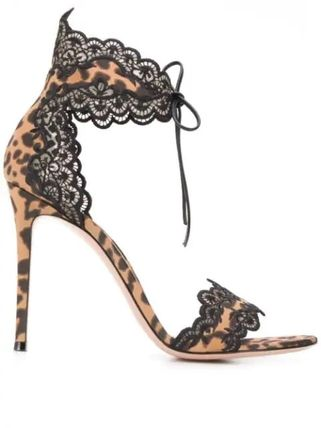 Leopard Patterns Open Toe Leather Pin Heels Sandals Sandal