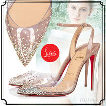 Christian Louboutin Enamel Blended Fabrics Plain Pin Heels Handmade Party Style