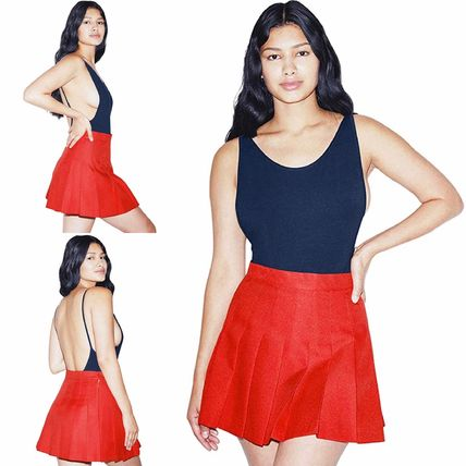 Flared Skirts Short Casual Style Pleated Skirts Bi-color