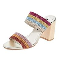 Alice+Olivia Stripes Open Toe Casual Style Leather Block Heels