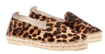 MANEBI Leopard Patterns Plain Toe Rubber Sole Casual Style Leather
