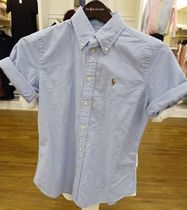 POLO RALPH LAUREN Short Casual Style Long Sleeves Plain Cotton Logo Cropped