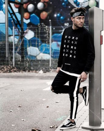 Crew Neck Pullovers Street Style Long Sleeves Oversized