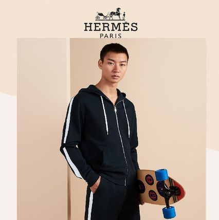 HERMES Bicolor Zipped Hooded Jogging Sweater
