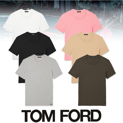 TOM FORD Crew Neck Crew Neck Street Style Plain Cotton Short Sleeves Designers