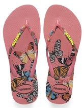 havaianas Tropical Patterns Open Toe Rubber Sole Casual Style Plain