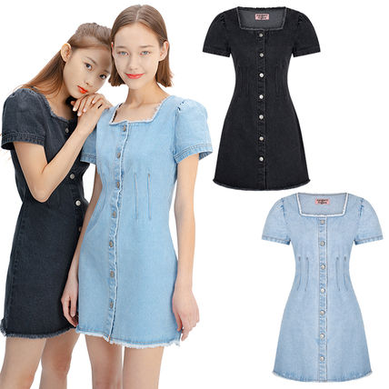 Short Casual Style A-line Denim Flared Street Style U-Neck
