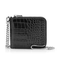 TOM FORD Street Style Chain Plain Leather Folding Wallet Logo