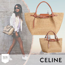 CELINE Big Bag Calfskin Blended Fabrics 2WAY Plain Leather Logo Straw Bags