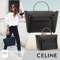 CELINE Belt Calfskin Plain Leather Office Style Elegant Style