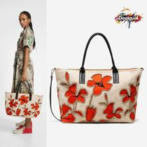 Desigual Flower Patterns Casual Style A4 2WAY Elegant Style Totes