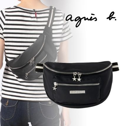 Agnes b Dots 2WAY Plain Leather Crossbody Logo Hip Packs