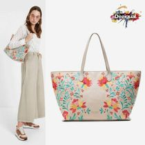 Desigual Flower Patterns Casual Style A4 Elegant Style Totes