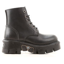 NEWROCK Round Toe Lace-up Casual Style Street Style Plain Leather