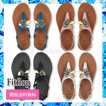 Fitflop Tropical Patterns Open Toe Platform Rubber Sole Casual Style