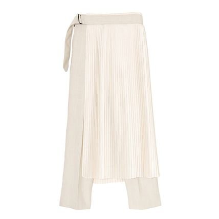 Pleated Skirts Plain Long Co-ord Pants