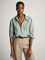 Massimo Dutti Casual Style Linen Long Sleeves Office Style