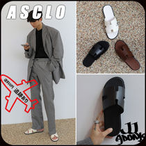 ASCLO Unisex Street Style Leather Sandals