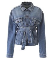 BALENCIAGA Short Casual Style Plain Denim Jackets Office Style Logo