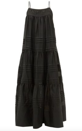 Casual Style Maxi A-line Sleeveless Flared Long