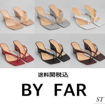 by FAR Open Toe Square Toe Casual Style Street Style Plain Leather