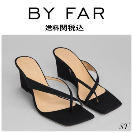 Open Toe Square Toe Casual Style Street Style Plain Leather