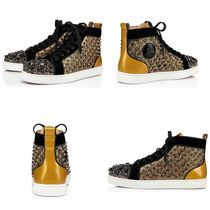 Christian Louboutin LOUIS Monogram Enamel Studded Street Style Plain Leather Handmade