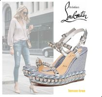 Christian Louboutin Pira Ryad Open Toe Casual Style Studded Elegant Style