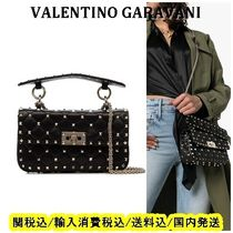 VALENTINO Lambskin Studded 3WAY Chain Shoulder Bags