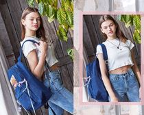 Entre Reves Stripes Heart Casual Style Street Style A4 Logo Backpacks
