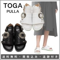 TOGA Open Toe Round Toe Casual Style Plain Leather Party Style