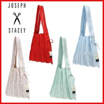 JOSEPH&STACEY Casual Style Elegant Style Logo Icy Color Handbags