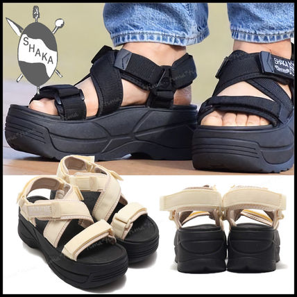 Platform Casual Style Street Style Plain Sport Sandals Logo