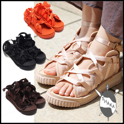 Lace-up Casual Style Street Style Plain Sport Sandals