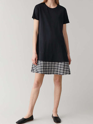 Crew Neck Short Other Plaid Patterns Casual Style A-line
