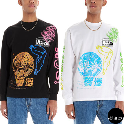 Crew Neck Skull Unisex Street Style Long Sleeves Cotton