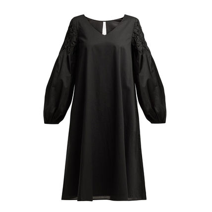 Casual Style A-line Flared V-Neck Long Sleeves Plain Cotton