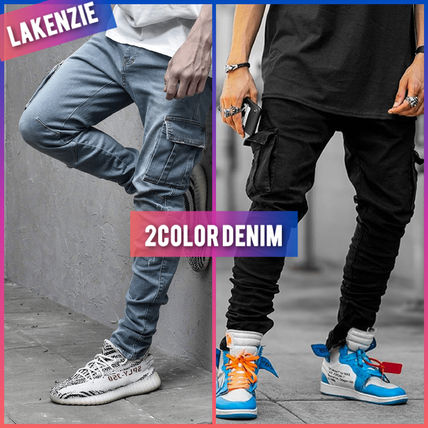 Unisex Denim Street Style Plain Cotton Joggers & Sweatpants